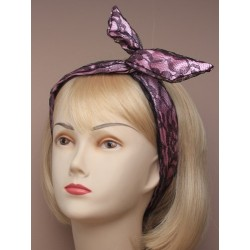 black satin lace fabric bendy headwrap. in pink,lilac,silver and gold.