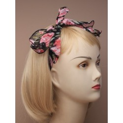 Hair Tie - floral print chiffon fabric hair tie in yellow, black, pink, blue, green or red