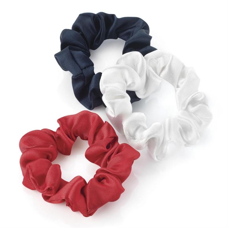 Three piece red, white and navy mini elastic hair scrunchie set. - (HA28018)