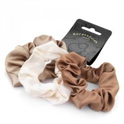 Three piece brown tone satin look scrunchie hair accessory set. - (HA26657)