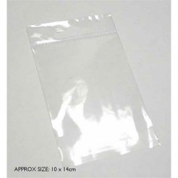 10cm wide  x 14cm high plastic bag with sealable lip. One...