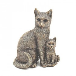 Ornament - Reflections Collection Bronze Small Sitting Cat and Kitten Ornament