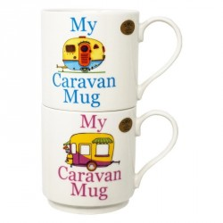 Set 2 Stacking Mugs - My Caravan Mug (Blue and Pink) by The Leonardo Collection