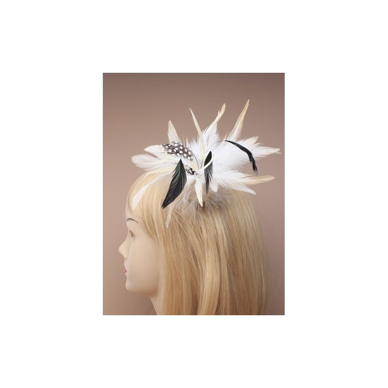 assorted style feather fascinator on a forked clip with brooch pin. in brown/beige and cream.these are made...