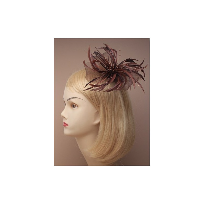 Fascinator Clip & Pin - looped net and feather fascinator on a forked clip with brooch pin