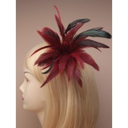 Fascinator Clip & Pin - feather fascinator on a forked clip with brooch pin in fuchsia/pink or burgundy