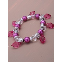 Stretch bracelet with heart bead charms