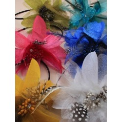 Fascinator Headband Hair Band - Feather Flower on a wound...