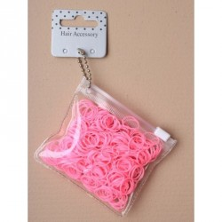 Hair elastics - Transparent purse containing 250 Pink polyurethane bands. Width 1mm, Diameter 10mm hair ties