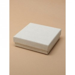 Cream linen effect paper gift box. Black flocked foam pad...