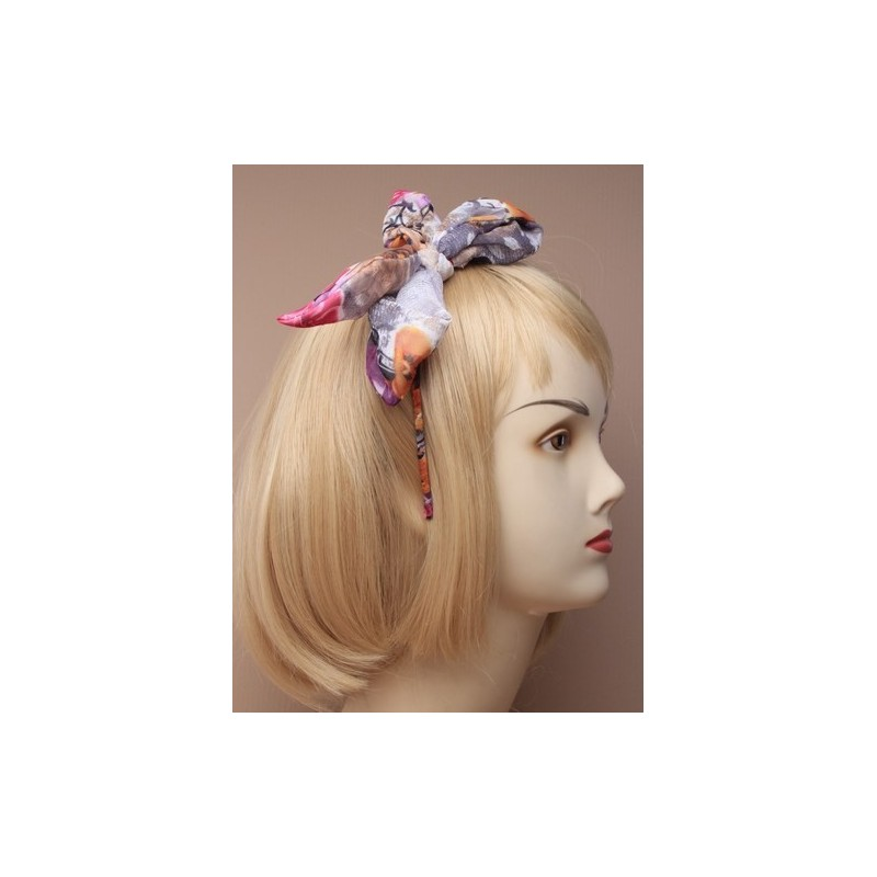 Aliceband - Large printed fabric floppy bow alice band in 3 colours