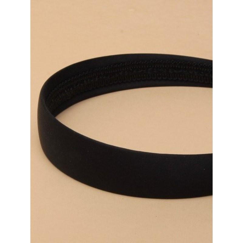 NEW 2.5cm wide Black low sheen satin fabric aliceband headband