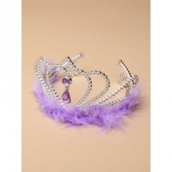 Tiara - Silv plastic tiara with centre stone and fur...