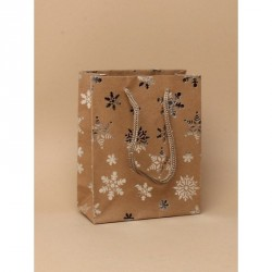 Gift Bag - Natural brown craft paper with silver foil snowflake print. Brown corded handles gift bag