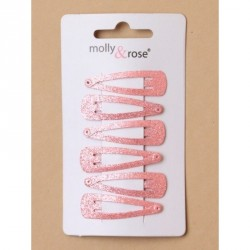 Hair clip set - Card of 6 pastel pink glitter 4cm sleepies.