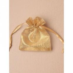 Organza Gift Bag - Gold organza gift bag with shiny gold thread