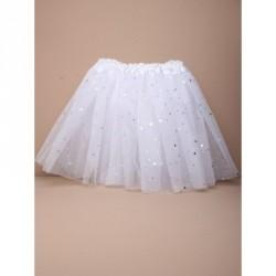 Tutu - White net child size dress up Tutu with appliqued pearlised stars.
