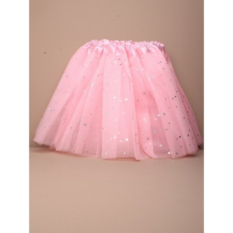 Tutu - Pink net child size dress up Tutu with appliqued pearlised stars.