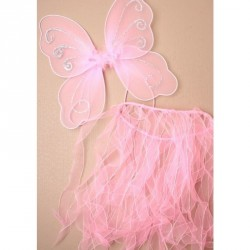 fairy wings with glitter detail and tassel fabric childrens pink tutu