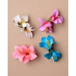 Hair flower - Small fabric double orchid on a 4.5cm fork clip in Pink, White, Turquoise or Purple