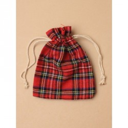 Pouch Bag - Red Tartan drawstring fabric linen gift bag /...