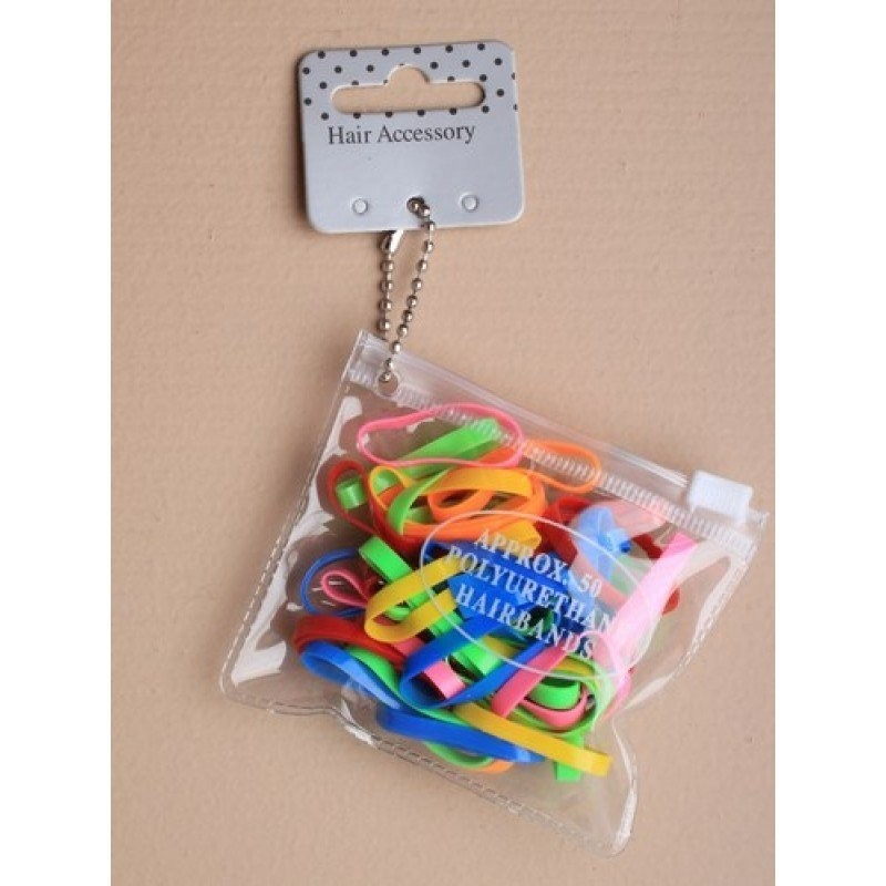 Transparent purse containing 50 bright coloured polyurethane bands