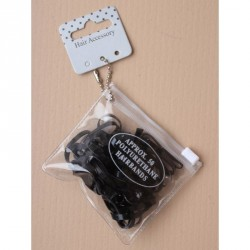Transparent purse containing 50 black polyurethane bands.
