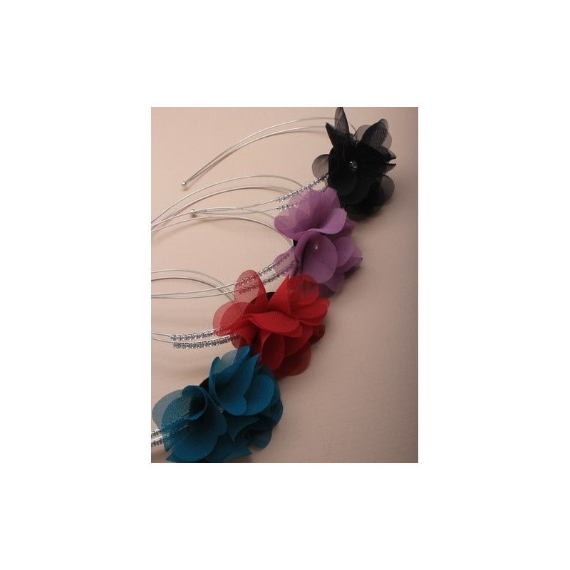 2 row silv wire aliceband with fabric flower and side crystal detail. in red/purple/teal and black.