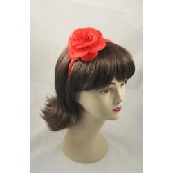 Aliceband - Fabric flower rose narrow satin headband...
