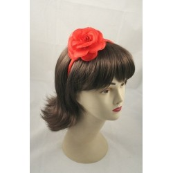 Aliceband - Fabric flower rose narrow satin headband alice band