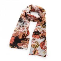 Peach tone paisley design scarf. - (SC32049)