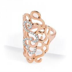 Ring - Rose gold colour crystal oval adjustable ring. -...