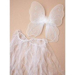 Tutu - Wings Size : 22x19cm Very Small fairy wings with glitter detail and fabric tassel tutu In White This product has b