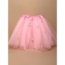 Tutu - Pink net child size Tutu with white roses Waistband 15-28in