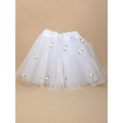 Tutu - White net child size Tutu with white roses Waistband 15-28in This item has been tested to EN71 Parts 1, 2 and 3