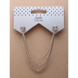 Collar Pins - Crystal stud collar pins with cascading chains In an assortment of gilt and silv