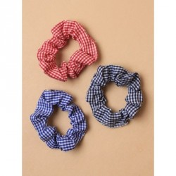 Hair Scrunchie - Gingham Check fabric scrunchies In red,blue and navy