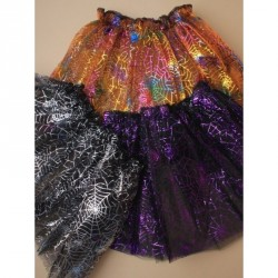 Tutu - Black Halloween double net tutu with coloured metallic spiders web design In Multi, silver, purpleWaistband Approx