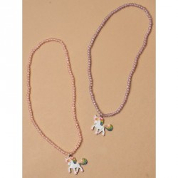 Gift Box - Unicorn pendant beaded stretch necklace 2 pink , 1 lilac per pack Length : 13in