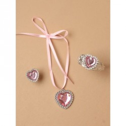 Gift Box - Childrens set with pink heart pendant ribbon tied necklace, pink heart plastic bangle and matching pink heart ring