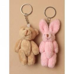 Keyring - Soft beige teddy bear and pink rabbit keyring