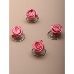 Hair Coils - Card of 4 silv Pink rosebud flower twist in hair coils