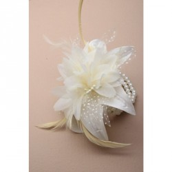 Corsage - Cream feather and flower corsage on a 4 row...