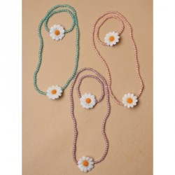Gift Box - Beaded stretch necklace and matching bracelet set with white fabric Daisy In Pink, Lilac and Turq