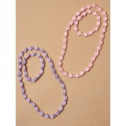 Gift Box - Beaded flower stretch necklace and matching bracelet set In pink and lilac