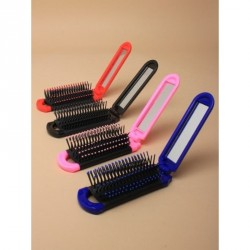Hairbrush - Compact Mirrors - Folding compact hair brush with mirror In red, black, pink and blue