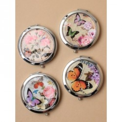 Compact Mirrors - Silv vintage butterfly compact with double mirror