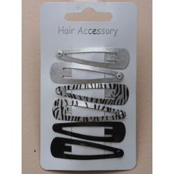 Click Clack Sleepies Hair Clips - card of 6 silv/zebra print and black 5cm sleepies.