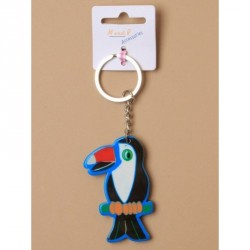 Keyring - Brightly coloured plastic parrot ,  toucan...