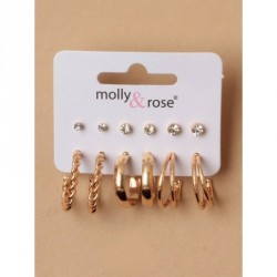 Card of 6 pairs of Gilt stud and hoop earrings